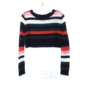 Striped knit multicolor cropped sweater